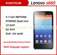 Original lenovo s660 unlocked phone Quad core MTK6582 1G RAM smartphone 4.7'' IPS 960*540p screen 3000mAh Android4.2 cellphone
