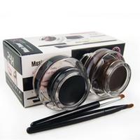 2 pcs in 1 lot Brown and Black Gel Eyeliner Make Up Waterproof Cosmetics tools Eye Liner Makeup Eye Brush
