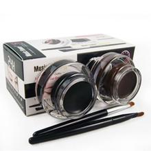 2 pcs in 1 lot Brown and Black Gel Eyeliner Make Up Waterproof Cosmetics tools Eye Liner Makeup Eye Brush(China (Mainland))