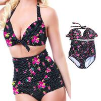 New Triangle High waist bikini sets,women's bikinis swimwear,Sexy swimsuit push up Plus size L-XXL Black rose Swimwear Suits #97