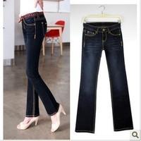 2014 New Fashion Miniature Flared Jeans Retro Legs High Waist Water Wash Women Casual Long Skinny Denim Jeans Pant  9462