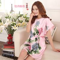 Plus size maternity nightgown female summer sexy sleepwear female summer short-sleeve loose lounge faux silk nightgown