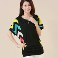 5XL 4XL 3XL 2XL Plus Size 2014 New Loose Batwing Sleeve T-shirt  Summer Cotton Patchwork Short-Sleeve Blouses & Shirts Tops