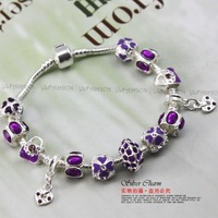 HOT SALE Wholesale Personalised European 925 Silver Charm Bracelets With Murano Glass For Women Fashion Jewelery PA1227