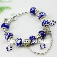 Free Shipping Wholesale silver charm glass bracelet bead fashion jewellery PA1179