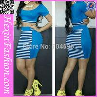 Free Shipping Sexy Blue Fashion Ladies Women Dress Summer 2014 LB5758 Size S M L