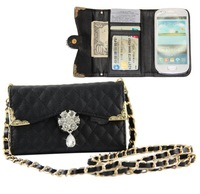 The chain mobile phone  case For samsung galaxy s3 mini,Ling plaid handbag,free shipping
