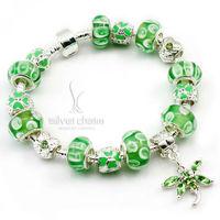 HOT SALE 925 Silver Chamilia Bead Green Butterfly Charm Bracelet for Women European Handmade Fashion Bijoux Jewellery PA1312
