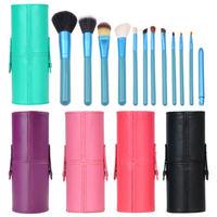 Professional Brush Makeup Set 12pcs Cosmetic Tool Kit PU Leather Holder Storage Case