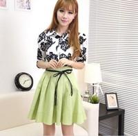 Korean high waist chiffon dress