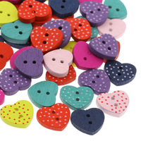 Wholesale 200PCs Wood Buttons Sewing Crafts Scrapbooking Heart Mixed 15mm x13mm Free Shipping