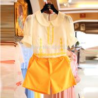 2014 Direct Selling Regular Solid Chiffon Rayon Cardigans Summer Hot Sell free Shipping Short-sleeve Shirt Shorts  Fashion Set