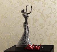 Non-woven wallpaper fashion silver three-dimensional printing flock wallpaper beige tv background wall