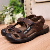 Ledbod 2014 new brand men high quality toe covering genuine leather sandals male plus size outside casual cutout summer slipers