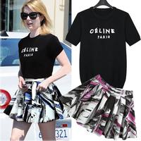 2014 all-match letter print short-sleeve t-shirt fancy pleated fluffy short skirt set