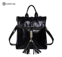 women leather backpack vintage college kanken shiny cowhide multi-purpose shoulder bag fringe