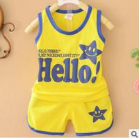 Smile star Clothing set Tank top +Short Pants HELLO Letter printing Children vest + Underwear 2 pcs summer clothes suit