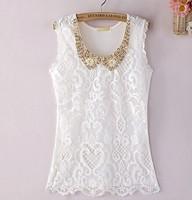 2015 New  summer fashion Women's sleeveless shirt Bud silk  Nail bead 091 free shipping