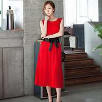 ( Special ) 2014 new round neck pleated dress solid color bow belt