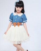 Free Shipping 2014 New Fashion Summer Dress Princess Lovely Pleated Cowboy Gauze Partysu Kids Girl Dresses Clothes Baby Clothing