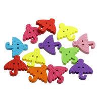 100PCs Wood Sewing Buttons Umbrella Shape Scrapbooking Mixed 23mm x23mm