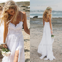 Free Shipping Spaghetti Strap Stunning Boho Low Back Wedding Dress High Low Dreamy Floaty Skirt Short Lace Front Hem