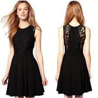 2014 Summer Hepburn Classical Backless Black Lace Dress Women Slim Elegant Sleeveless Chiffon JumperSkirt  Formal Dress