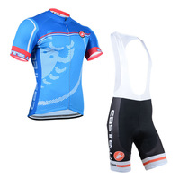 2014 Fast Shipping Blue Castelli  Retail Outdoor Cycling Jersey(Maillot)/Bib Short(Culot)/Made Of High Quality Polyester