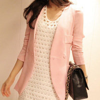 2014 Spring Autumn Korean small suit women Slim  jacket long sleeve pink jacket S/M/L free shipping