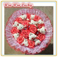 NEW Handmade Wedding bridal bouquet Soft Plush Toy Bouquet Teddy Bear Bouquet Cartoon Doll Fake Rose Valentine/Graduation Gift