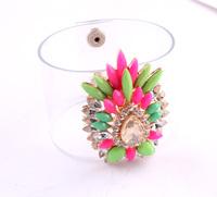New Shourouk PU Leather Bracelet MultiColor Crystal Flower Chunky Statement Charm Bracelet Bangle Fashion Jewelry Women