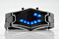 Hot ,Fashion Binary Fashion Japanese Inspired Blue and Red LED Wrist Watch Hexagonal Screen Snake Shape