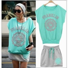 free shipping 2014 Summer hot Active fashion women sports wear Green/white/orange top+skirt jogging suit Wholesale Promotion(China (Mainland))