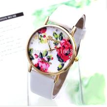 Geneva Flowers Watch Women PU Leather wristwatch casual dress watch Gift reloj
