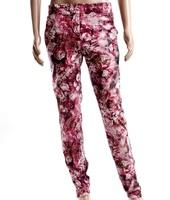 Unisex Faux Leather white Jogger Pants Men Women Golden Zipper  Leopard Camouflage Rose Flowers PU Leather Trousers Sweatpants