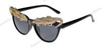 Retail!New 2014 trend fashion Vintage Luxury Glasses Fashion Girl Crocodile strass Women Sunglasses