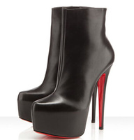 2014 spring/Autumn sexy brand 19cm thin ultra high heels martin single boots red bottom platform women's pumps Big size:41-46