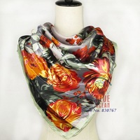 2014 Classical Design Sping And Autumn Satin Big Square Scarves Printed,Women Purple Polyester Silk Scarf Shawl 90*90cm