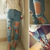 2014 summer women's plus size loose beggar pants female summer high waist hole jeans