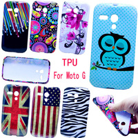 Cover For Motorola MOTO G XT1028 XT1032 XT1031 Beautiful Cartoon Owl Birds Pattern Soft TPU Back Case Cover Free Shipping