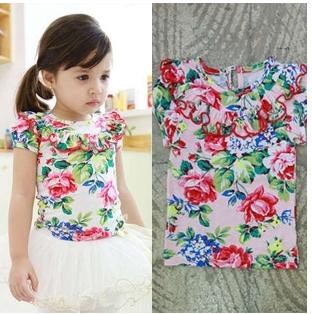 Free shipping 5pc / lot Summer Fashion Floral Print Short Sleeve Girls T Shirt for kids wear Children Print T Shirts Tops(China (Mainland))