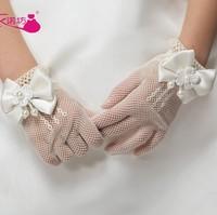 Free Shipping Children Princess Wedding Dress Flower Girl Dress Gloves Stretch Mesh Gloves 10pairs/lot