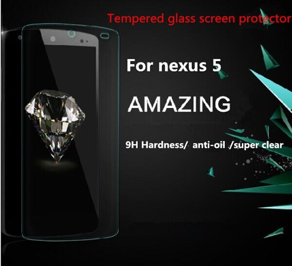 quente 9h 0.3mm premium anti- explosão vidro temperado protetor de tela para lg google nexus 5 com pacote de varejo freeshipping(China (Mainland))