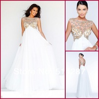 2014 White Comfortable A-Line Chiffon Appliques Crystal Floor Length Cap Sleeve Prom Dresses Pregnant Women Evening Dress