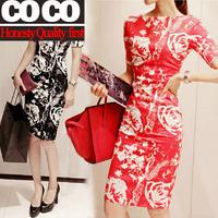 Free shipping ! 2014 spring summer women fashion printed vintage printed elegant slim sexy slash neck casual dress A018