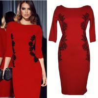 New fashion embroidery 2015 slim hip slim one-piece dress ol dress