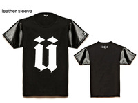 Unkut male shortsleeve T shirts fashionable casual t shirt for man cheap men's loose tshirts leather sleeve hiphop t-shirt