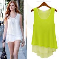 2014 summer loose big size clothing fashion chiffon sleeveless vest women winter summer dresses free shipping