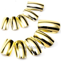 Hot! 100pcs METALLIC GOLD COLOR FULL COVER Nail Art Tips with box free shipping