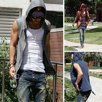 Fashion Summer Sports Hoody Non Sleeves Hoodies Men Sportswear Man Thin Cardigan Ttracksuits Sleeveless Sport Suit